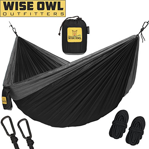Wise Owl Outfitters Hammock for Camping Single & Double Hammocks - Top Rated Best Quality Gear For The Outdoors Backpacking Survival or Travel - Portable Lightweight Parachute Nylon DO Black & Grey