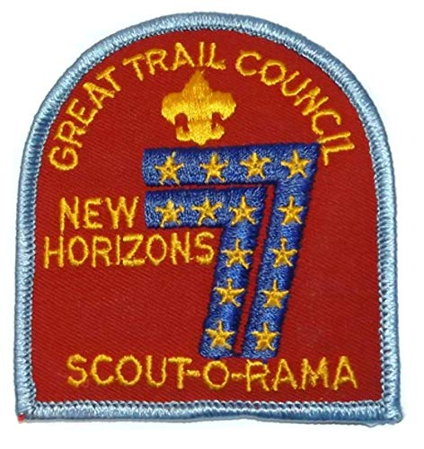 Vintage 1977 New Horizons Scout-O-Rama Great Trail Council Embroidered Cloth Boy Scouts Patch