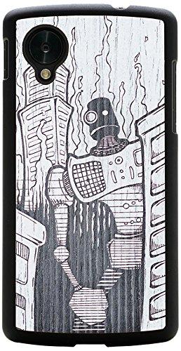 CARVED Matte Black Wood Case for Google Nexus 5 - Monochrome Robot Doom (N5-BC1M-PE-DOOM)