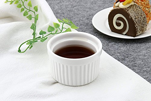 MAMA-AI Encheng 4 oz. Porcelain Ramekins, Porcelain Souffle Dishes, Ramekins for Souffle, Creme Brulee and Dipping Sauces - Set of 8, White by MAMA-AI (Image #5)