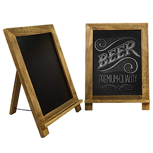 Tuzico 2 Pack Wooden Framed Standing Chalkboard Sign 14quotx10quot Small Easel Chalkboard Signs Rustic Tabletop Chalkboard Sign Decor with Chain for WeddingKitchen Restaurant Bar Countertop and Home