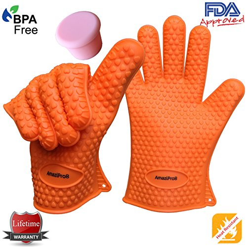 AmaziPro8 Heat Resistant Silicone BBQ Gloves + FREE Silicone wine plug/lid + 8 Downloadable Recipe/Cooking Books comes with this Kitchen gloves – Cooking Gloves Heat Resistant – One Size Fits Most