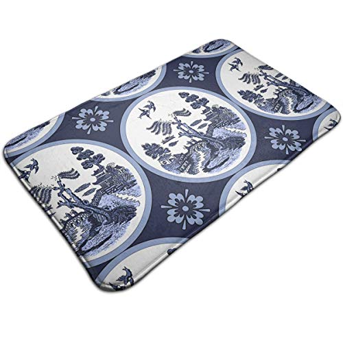 DIDIDI Blue Willow Round Tile Painting Throw Area Ground Mat Restroom Kitchen Bathroom Accent Floor Party Carpet Outside Door Set Decor Welcome Entryway Rug Sign Celebrate Decorations Ornament