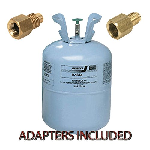 Johnsen's 30 lb Cylinder R134a HFC-134a Automotive A/C System Refrigerant Gas With 2 Adapter by Johnsen's