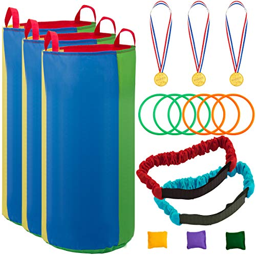 Apipi Potato Sack Race Bags Outdoor Game Set, Includes 3 Pack Rainbow Potato Sack Race Bags, 2 Pack 3 Legged Race Bands, 3 Bean Bags, 3 Plastic Medals and 6 Toss Rings for Kids&Adult (Rainbow)