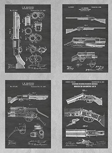 Antique Shotguns Wall Decor Collection: Set of Four Patent Print Art Posters: Choose From Multiple Size and Background Color Options