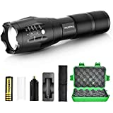 WdtPro Tactical Flashlight with Rechargeable Battery, Flashlight Holster & Charger - High Lumen XML T6 LED Flashlights, 5 Modes, Zoomable, Water Resistant for Camping Emergency