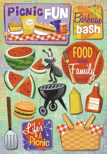 KAREN FOSTER Design Acid and Lignin Free Scrapbooking Sticker Sheet, Picnic Fun