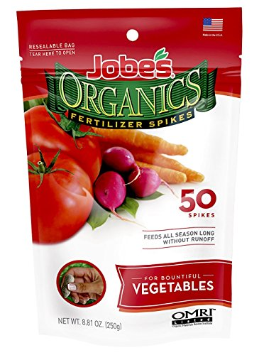 Jobe's Organics Vegetable & Tomato Fertilizer Spikes, 2-7-4 Time Release Fertilizer for All Vegetables, Herbs and Tomato Plants, 50 Spikes per Package (Garden Tomato Plants)