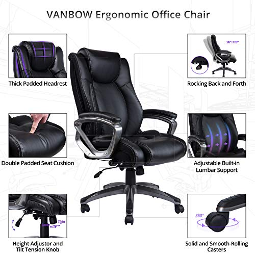 Computer chair with built-in adjustable lumbar support which just provides with a few extra options. Add to that a headrest, rock back and forth option, double padded seating, it looks great...