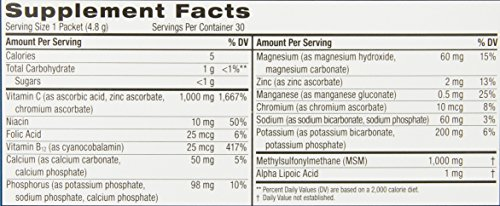 Emergen-C Lite MSM (30 Count, Citrus Flavor) Dietary Supplement Fizzy Drink Mix with 1000mg Vitamin C, 1000mg MSM, 5.1 Ounce Packets by Emergen-C (Image #1)