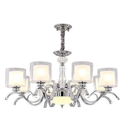 Amazon.com: Lámpara colgante de cristal de metal y doble ...