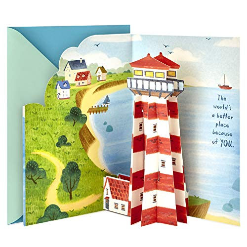 Hallmark Paper Wonder Fathers Day Pop Up Card for Dad (Lighthouse)