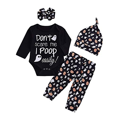 Ankola 4Pcs Baby Girls Boys Clothes '' Don't Scare Me ''Halloween Long Sleeve Romper Pants with Hat and Headband (12M, Black)