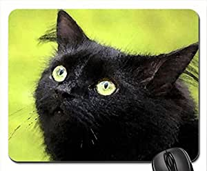 Black cat and his green eyes Mouse Pad, Mousepad (Cats Mouse Pad, 10.2 x 8.3 x 0.12 inches)