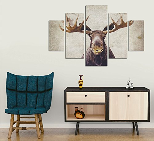 LaModaHome Decorative 100% MDF Wall Art 5 Panels (36'' x 22'' Total) Ready to Hang Painting Deer Horn Animal Africa Wildlife White Background by LaModaHome