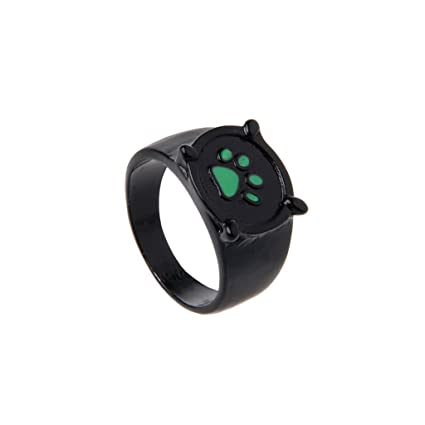 Amazon.com: Forgun Miraculous Ladybug Cat Noir Cartoon Green Pawprint Black Cat Ring for Cosplay: Office Products