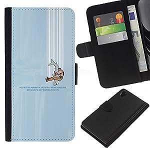 LECELL--Cuero de la tarjeta la carpeta del tirón Smartphone Slots Protección Holder For Sony Xperia Z2 D6502 -- HUMOR TIBURÓN DIVERTIDO --