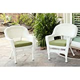Cheap Jeco Wicker Chair in White with Green Cushion (Set of 2)