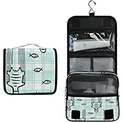 JUMBEAR Portable Hanging Cosmetic Make up Bag Cat Paw Fish Green Plaid Travel Toiletry Bag Bathroom Shower Items Organizer Kit for Women Girls