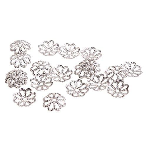 PandaHall Elite Jewelry Making Metal Brass Multi-Petal Hollowed Bead Caps Flower Cup Shape Beads 8x1.5mm Platinum 20 Pcs a Bag