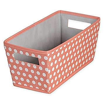Charmant Dotted Fabric Quarter Storage Bin In Coral