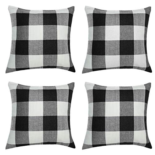 Checkered Pillow (Aneco 4 Pack 18 x18 Inch Pillow Cover Buffalo Plaid Black White Check Plaid Cushion Classic Tartan Linen Pillow Cover Sofa Bedroom Car)