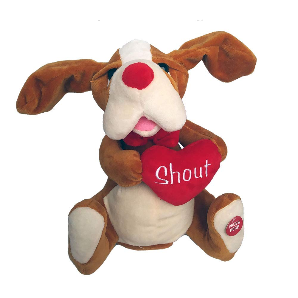 Red&Pink Singing Animated Plush Dog Stuffed Animal - Valentines Gift - Sings Shout by Red&Pink