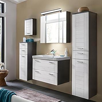 Elegant Lomadox Landhaus Badezimmermöbel Set Mit Massivholzfronten Weiß Gewischt,  80cm Keramik Waschtisch, LED