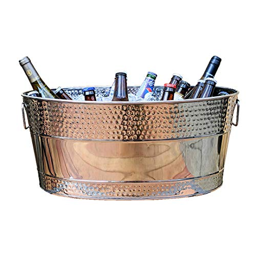 (BREKX Aspen Hammered Stainless Steel Beverage Tub & Party Drink Chiller - 25 Quarts - Mirror-Silver)