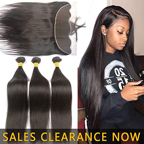 Aliexpress Best Brazilian Virgin Human Hair Bundle And 13x4 Frontal Pre Plucked With Baby Hair Cheap 9A Peruvian Silky Straight Weave Ear to Ear Swiss Lace Closure 2 Bundles of 10 10 With 10In]()