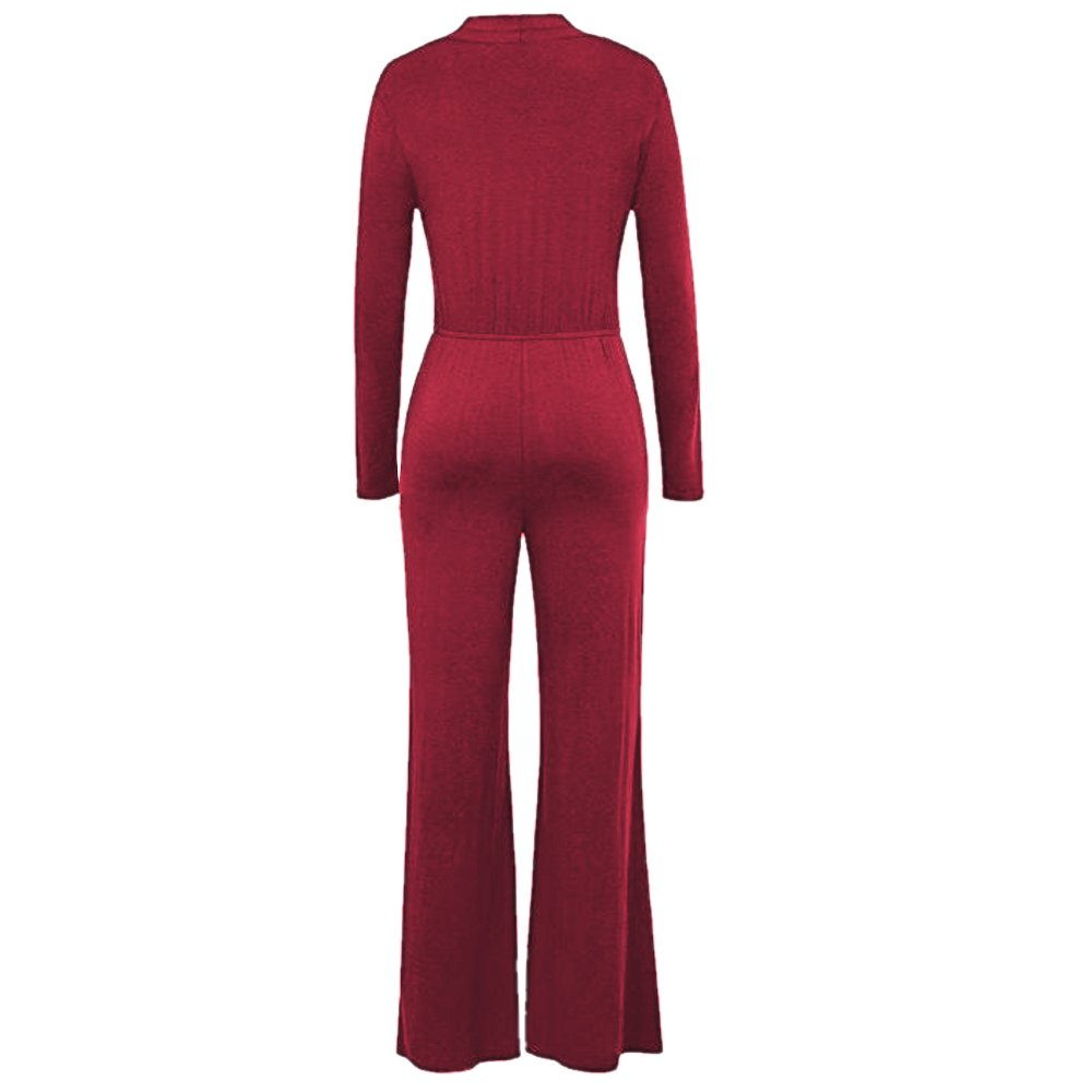 JXJCVF Women Wrap V-Neck Sexy Long Sleeve Wide Leg Jumpsuit with Pockets