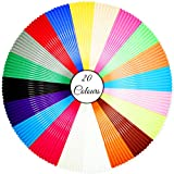 Stylo 3D filament refills PLA 1.75 mm thickness - 20 colors (6 glow in the dark) - 5 meter (16.4 feet) each color (Free stencils ebook included) Used for 3d pen, printers & art drawings