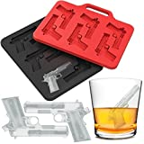 Ice Molds Tray | Gun Shaped Silicone Ice Cube Trays | Perfect Ice Cube Molds Maker for Whiskey Bourbon Cocktail Beverage Drinks BPA-Free | Black Red 2 Pack