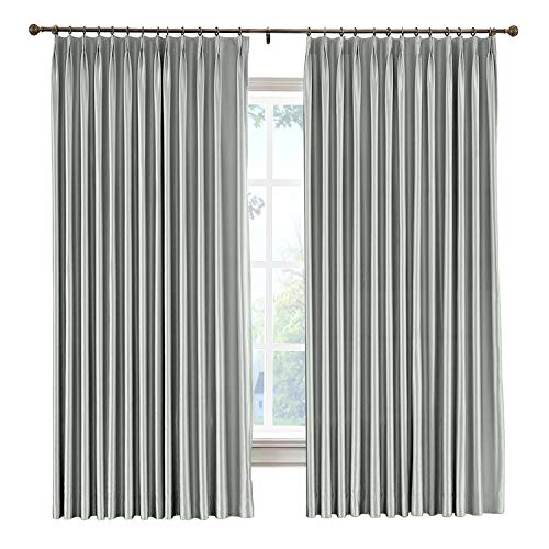 (cololeaf Pinch Pleated Faux Silk Blackout Curtains Drapery Panel For Traverse Rod Or Track, Living Room Bedroom Meetingroom Club Theater Patio Door,Light Grey 52W x 102L Inch (1 panel))