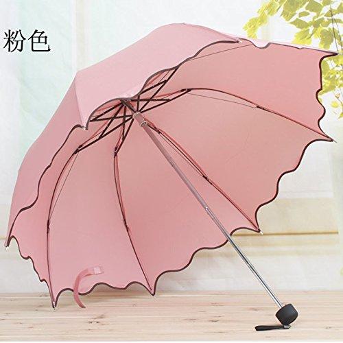 HULKAY Upgrade Newest Flouncing Folding Lotus Leaves Wave Princess Dome Parasol Sun Rain Women Lady Umbrella(F)