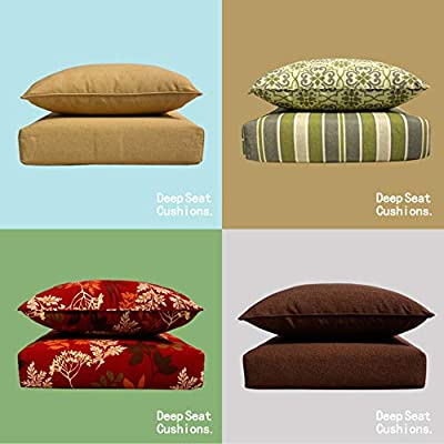BOSSIMA Indoor/Outdoor Black/Gold Damask Deep Seat Chair Cushion Set, Spring/Summer Seasonal Replacement Cushions : Garden & Outdoor