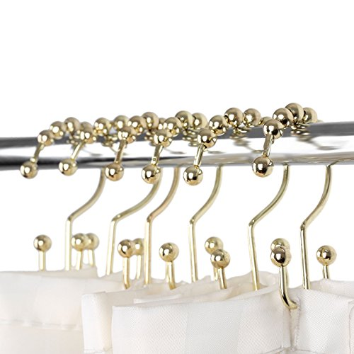 Hicello 12Pcs Gold Stainless Steel Double Glide Bathroom Shower Curtain Hook Ring Roller Balls by Hicello