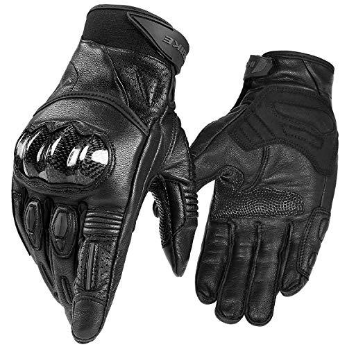 INBIKE Motorcycle Gloves, 3mm EVA Palm Pad Motorbike Gloves Genuine Leather Full Finger Black - Durable Full Glove Finger