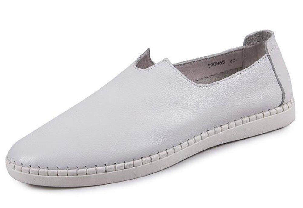 Men Slip-On Oxford Summer Breathable Daily Casual Shoes Comfortable Flat Bottom Soft Leather Driving Shoes 100% Leather Loafer Shoes ( Color : White , Size : 39 )