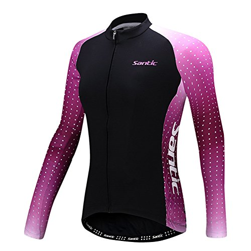Santic Women's Cycling Jersey Loog Sleeve Road Bike Jersey Jacket Black-Purple X-Large=US Large//Chest 36.2