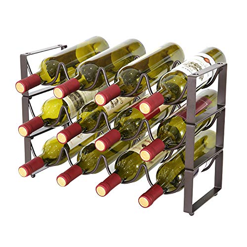 YCOCO 3 Tier Stackable Wine Rack,Countertop Cabinet Wine Holder Storage Stand - Hold 12 Bottles,Countertop Free-Stand Wine Storage Holder, Space Saver Protector for Red & White Wines (Racks Metal Wine)