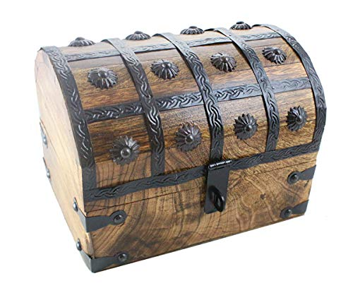 Well Pack Box Large Treasure Chest Wood Keepsake Jewelry Box Toy Treasure Box 8