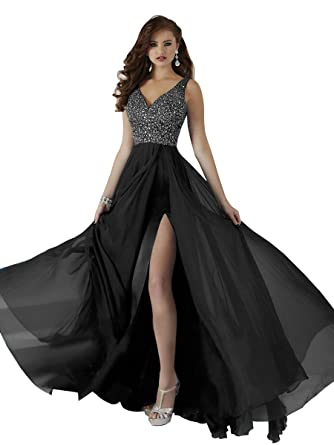af4a14c408ca2 Women's V-Neck Beaded Prom Dresses Long Slit Chiffon A-Line Formal Evening  Gowns