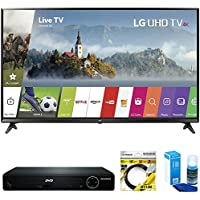 LG 55 4K Ultra HD Smart LED TV 2017 Model (55UJ6300) with Sylvania HDMI HD DVD Player, 6ft High Speed HDMI Cable Black & Universal Screen Cleaner for LED TVs Large Bottle
