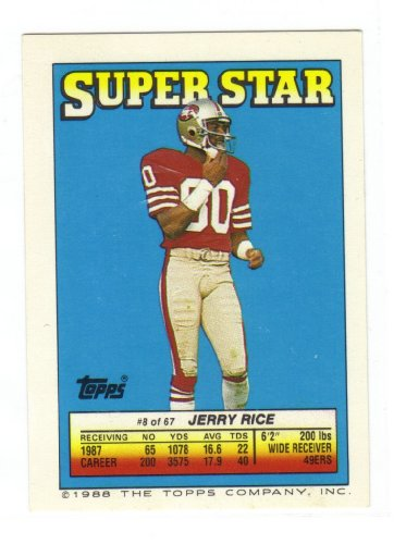 Topps Super Football - Topps Super Star 1988 Football Card Jerry Rice (Topps Super Star)