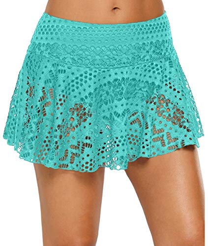 Urchics Womens Lace Hollow Out Swimsuit Tankini Bottom Swim Board Shorts Mint Skirt ()