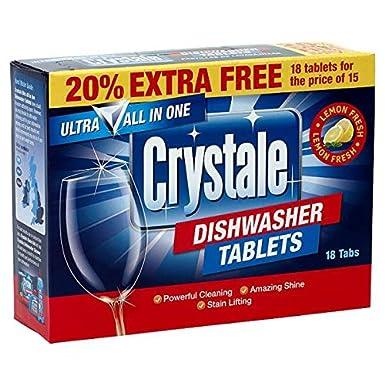 Crystale 18 Pastillas lavavajillas (Pack de 7 x 18x18g ...