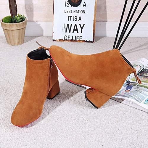Eu Elegant 34 Deed Work And Zip Ladies Shoes Short Heel Boots qSvB7