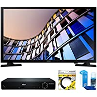 Samsung 27.5 720p Smart LED TV 2017 Model (UN28M4500AFXZA) with Sylvania HDMI HD DVD Player, 6ft High Speed HDMI Cable Black & Universal Screen Cleaner for LED TVs Large Bottle